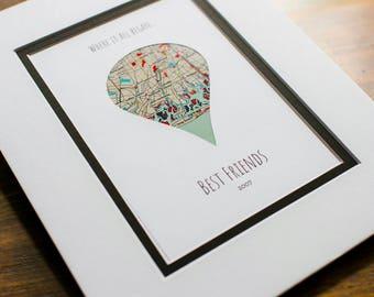 Where It All Began, Best Friend Map, Best Friends Map Art Gift, Going Away Gift, Long Distance Friendship Gift, Unique Friendship Gift