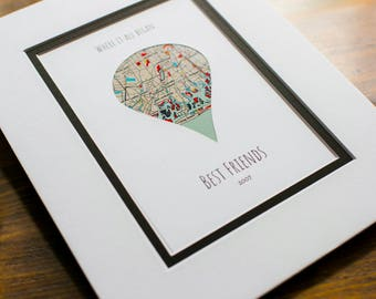 Where It All Began -Gift For Best Friends- Long Distance Friendship Relationship Gift- Valentine's Day Gift for Best Friend - Unique Vday