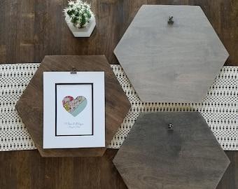 Hexagon art or photo display, honeycomb geometric art display, trendy apartment boho decor, wood hexagon clipboard menu sign for kitchen