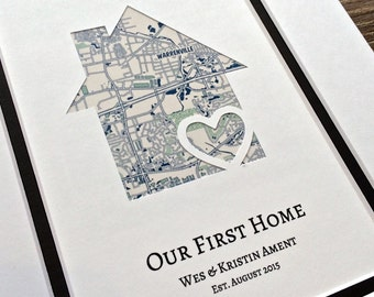 Our First Home- Personalized Home Map Matted Gift- First Home Gift- New House Housewarming Gift- First Anniversary or Wedding Gift