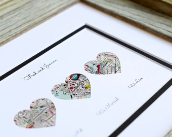 We Met, We Married, We Live, Personalized Map wedding or engagement Gift, wedding decor, gift for couple, memorable gift for bride and groom