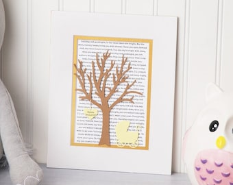 Personalized Newborn baby gift, 3D Paper Tree with Hearts, Baby shower gift for mom, new baby announcement, nursery art boy or girl