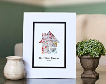Our First Home Housewarming gift, 1st home gift, new home gift, first time homeowner, closing gift, gift for hostess, personalized map art