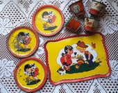 Vintage Childrens TIN TEA SET Mixed Set 8 Pieces 1950s Collectible Toy Tin Litho