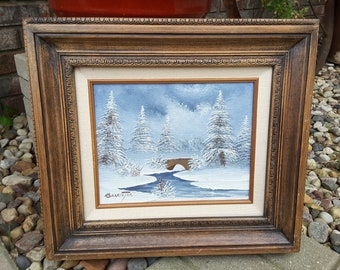 Vintage BARRISTER Winter Scene Painting Trees and Brook Signed Framed Winter Wall Decor