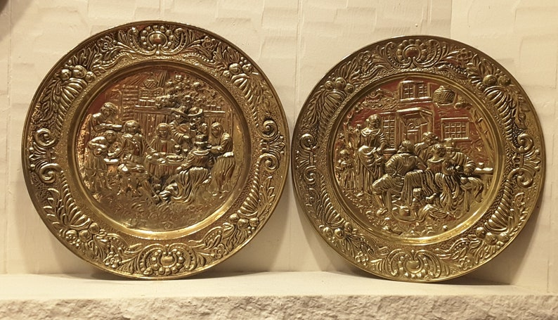 Midcentury Brass Wall Plates Set Of 2 Large Sconces Old Tavern Etsy