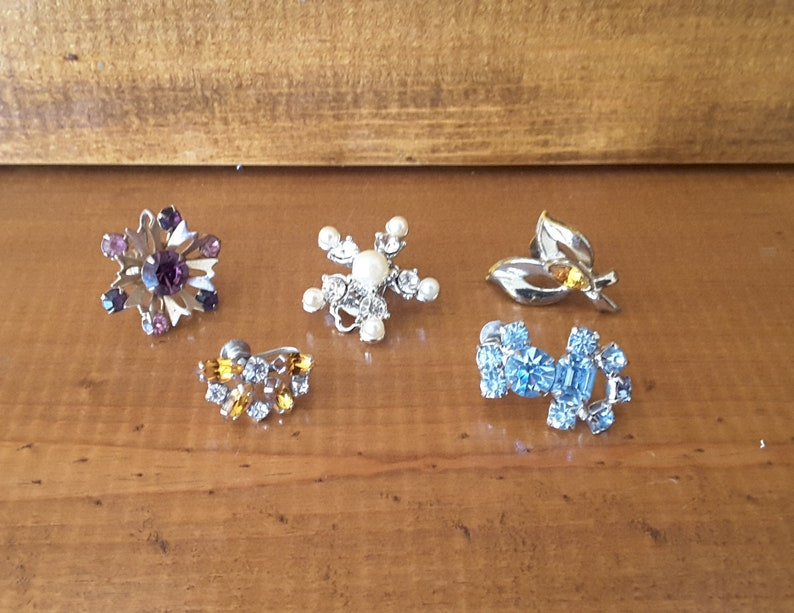 Vintage RHINESTONE EARRING Singles No Matches Lot of 5