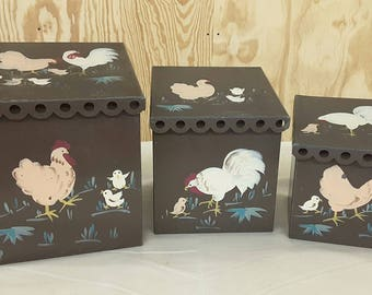 Vintage Nesting Shabby Chic Canisters Hand Painted Chickens