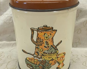 Vintage DecoWare Tin Canister Coffee Pot Graphic 5 1/4 inches Made in USA