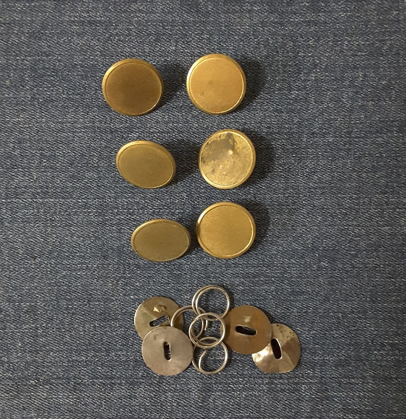Buss Vintage Antique Metal Shanked Round Brass Jacket Buttons Superior Quality and I NYC Collectible Old Buttons
