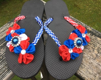 f3b351d97 Fourth Of July Patriotic Red And Blue Womens Adult Size Medium 7 8 Flip  Flops. 4th Red and Blue Patriotic 7 8 Flip Flops