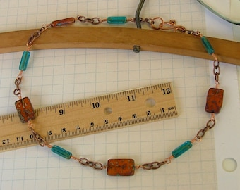 Copper and Pressed Glass Bead Necklace