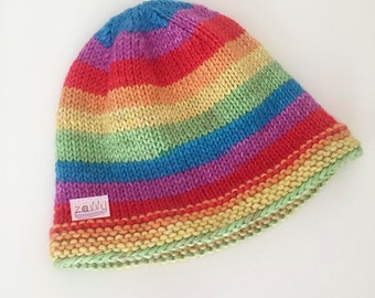 198aabd43a4 Rainbow Striped Knit Hat for Baby