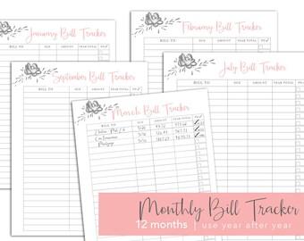 INSTANT DOWNLOAD | Monthly Bill Tracker Happy Planner Insert 2018 Budget Planner Printable diy Planner Organizer 2018 calendar planner month