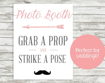 INSTANT DOWNLOAD - Photo Booth Directional Sign - Wedding Reception - Photography - Strike a Pose - Grab a Prop - Oh Snap