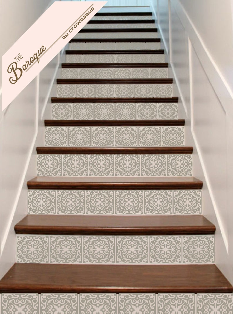Bon Stair Stickers   Ornate Vinyl Tile Decals For Stair Risers   Stairway  Staircase Escalier Wall Decor Decoration
