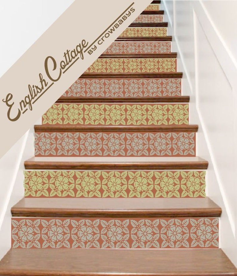 Delicieux Stair Decals . English Cottage Vinyl Staircase Steps Decor Stickers . Your  Choice Of Color And Quantity
