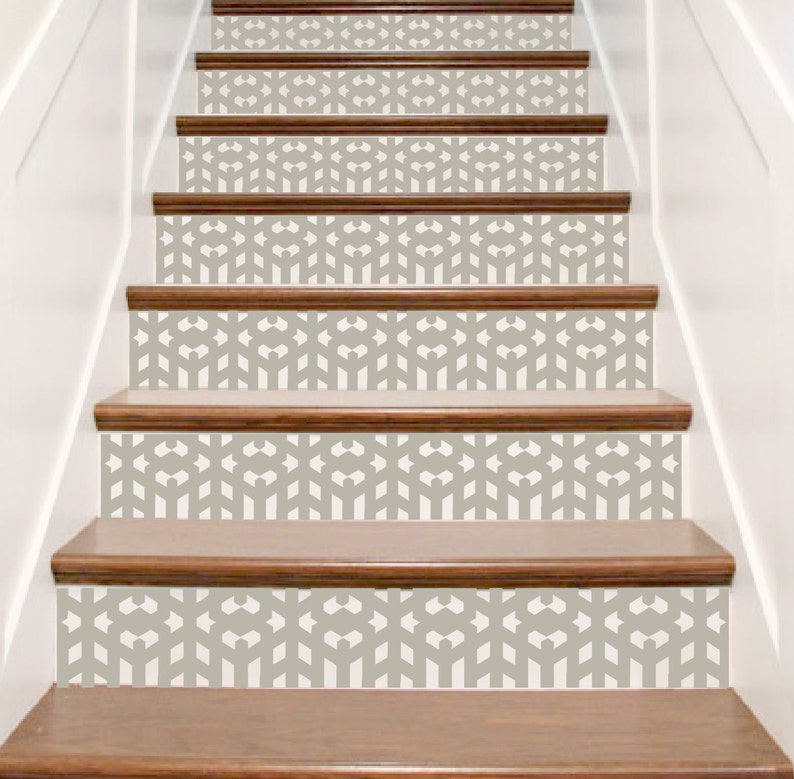 Arts And Crafts Mission Style Vinyl Decals For Stairs   Decals For Stair  Riser Decor   Staircase Decoration