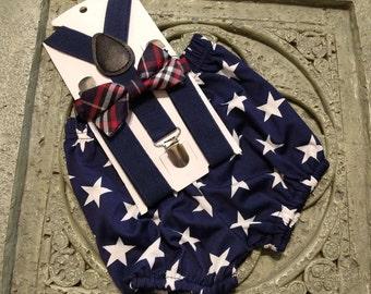 Boys Kids Children Australia Star Flag Pattern Navy Pin Bow tie Party Prop