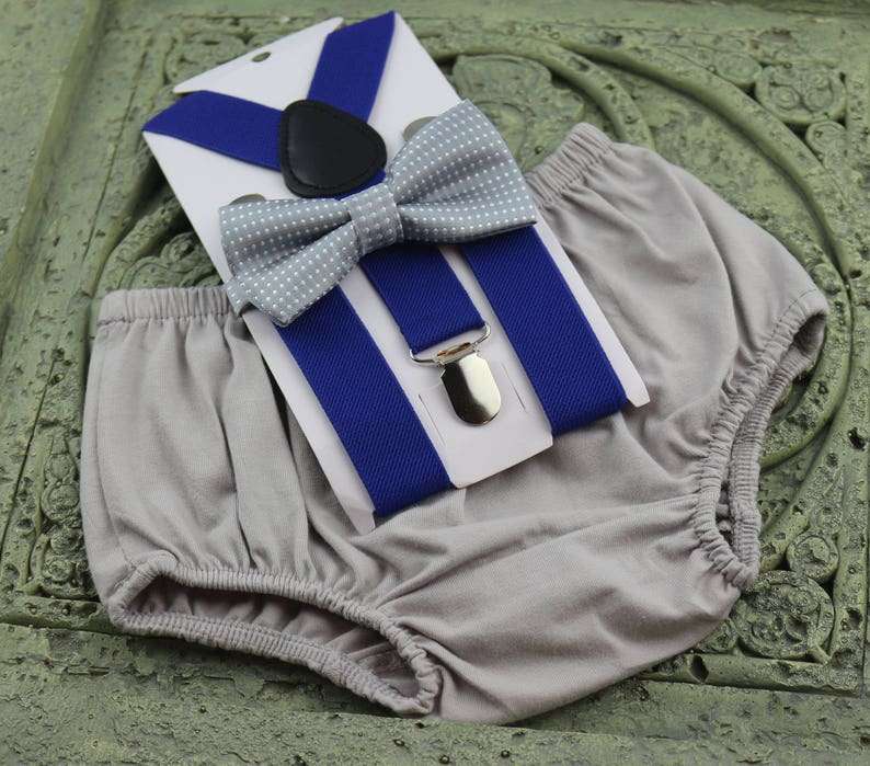 light gray boy outfit,bloomers,diaper cover 1st Birthday boy cake smash Outfit Bow tie bloomers Suspenders royal blue
