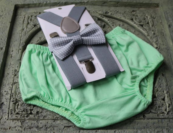 1st Birthday boy cake smash diaper cover bow tie boy clothes Light green gold
