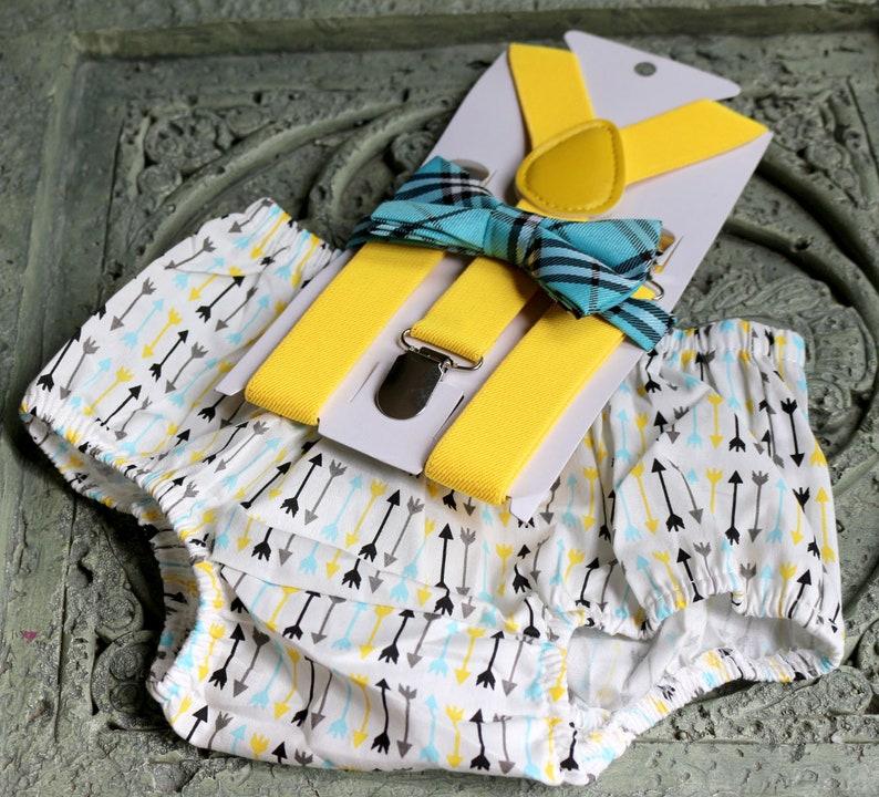 1st Birthday boy cake smash diaper cover bow tie boy clothes gold gray