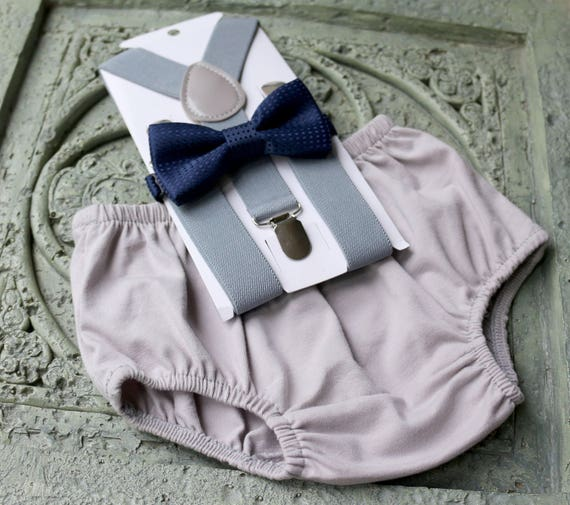 1st Birthday boy cake smash bow tie suspenders outfit light gray royal blue