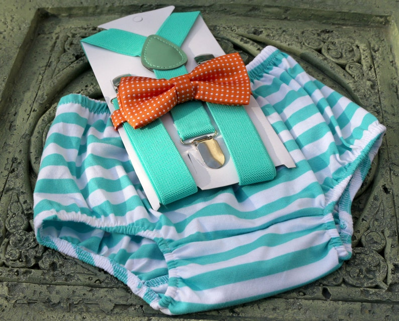 Gray, 1st Birthday boy cake smash bow tie suspenders outfit 12 mo Mint green
