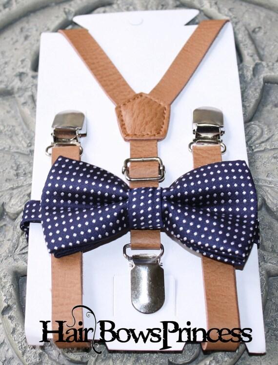 Set - enfants garçons Brown PU bretelles de cuir bleu marine, mariage noeud papillon 6mon-5Y