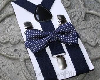 Kids Boys Baby Suspenders Navy Blue bow tie 6mo-2T 3T 4T 5T baby prop Set navy, Ring bearer