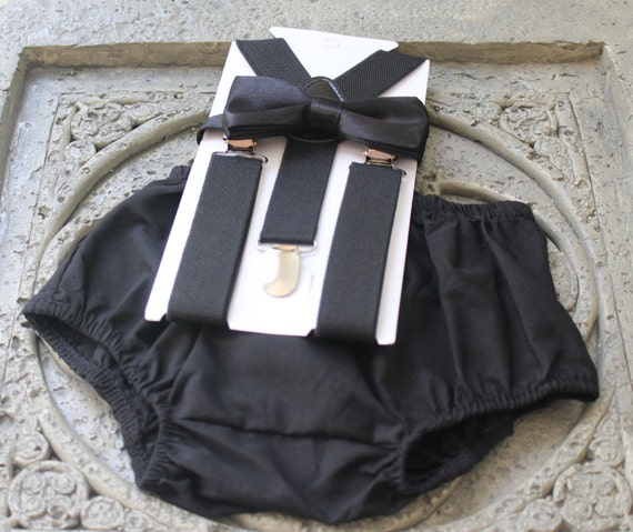 1st Birthday Boy Cake Smash Diaper Cover Bow Tie Black
