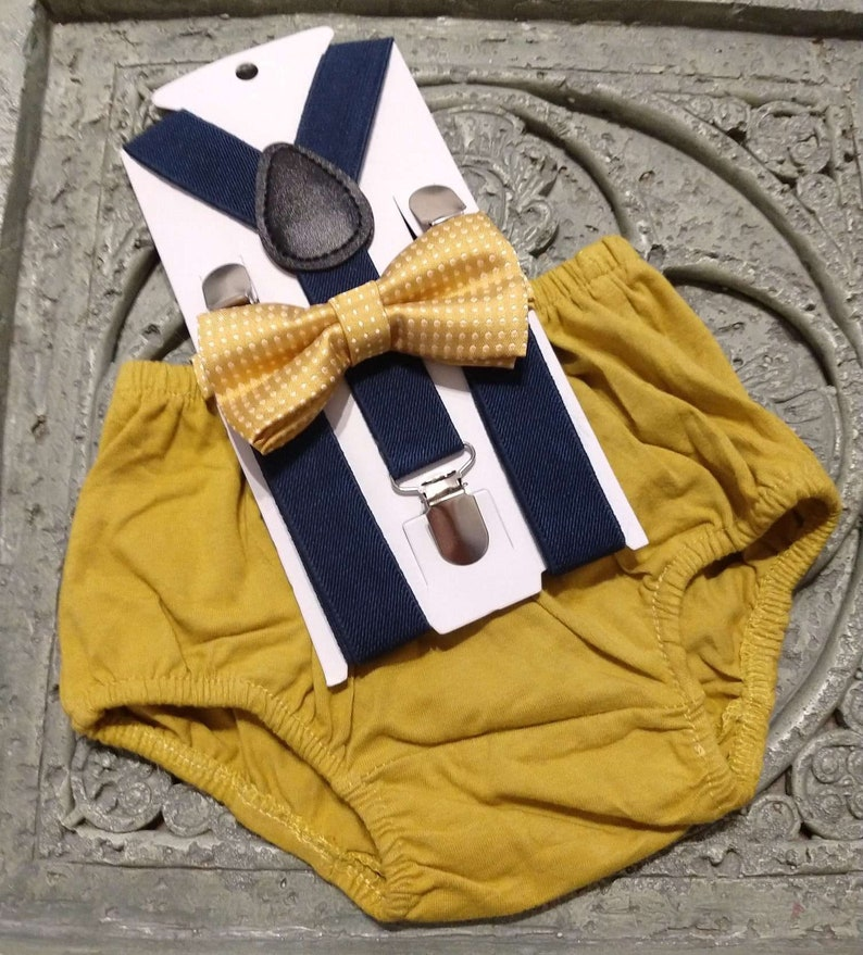 1st Birthday boy cake smash outfit bow tie suspenders 6m-24 mo Gold navy blue boy outfit,bloomers,diaper cover