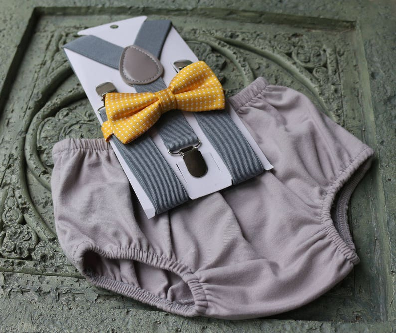 1st Birthday boy cake smash diaper cover bow tie boy clothes light blue yellow