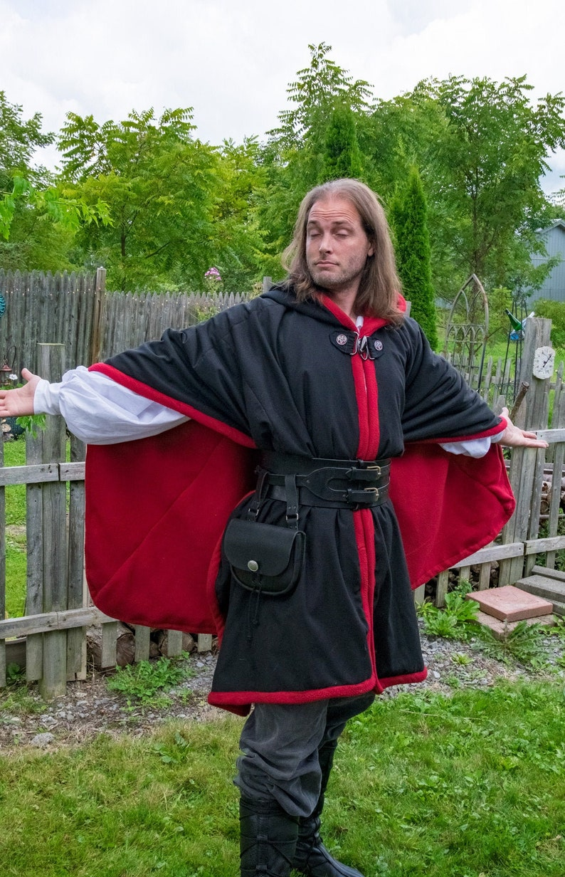 Black and Red Ranger Cloak with Hand Embroidered Dragon for image 0