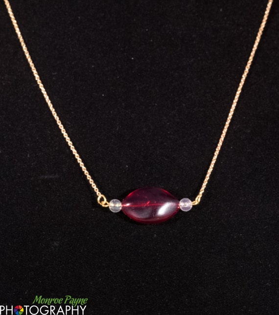 Girl's Necklace, Red and Gold