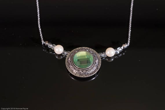 Pale Emerald Color Pendant framed by Faux Pearls