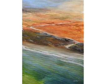 Acrylic ink painting on canvas sheet. Abstract. Impressionist seascape. Blue green yellow. Beach. Landscape canvas painting. Mixed media.