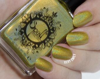 Spell Polish ~Dropping Daisies~ mustard yellow linear holo nail polish!