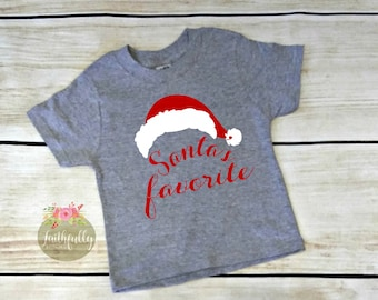 503c145fccfe Kids Christmas Shirt / Santa's Favorite / Kids Santa's Favorite Shirt / Christmas  T-shirt/Girl's Christmas Shirt/Boys Christmas Shirt