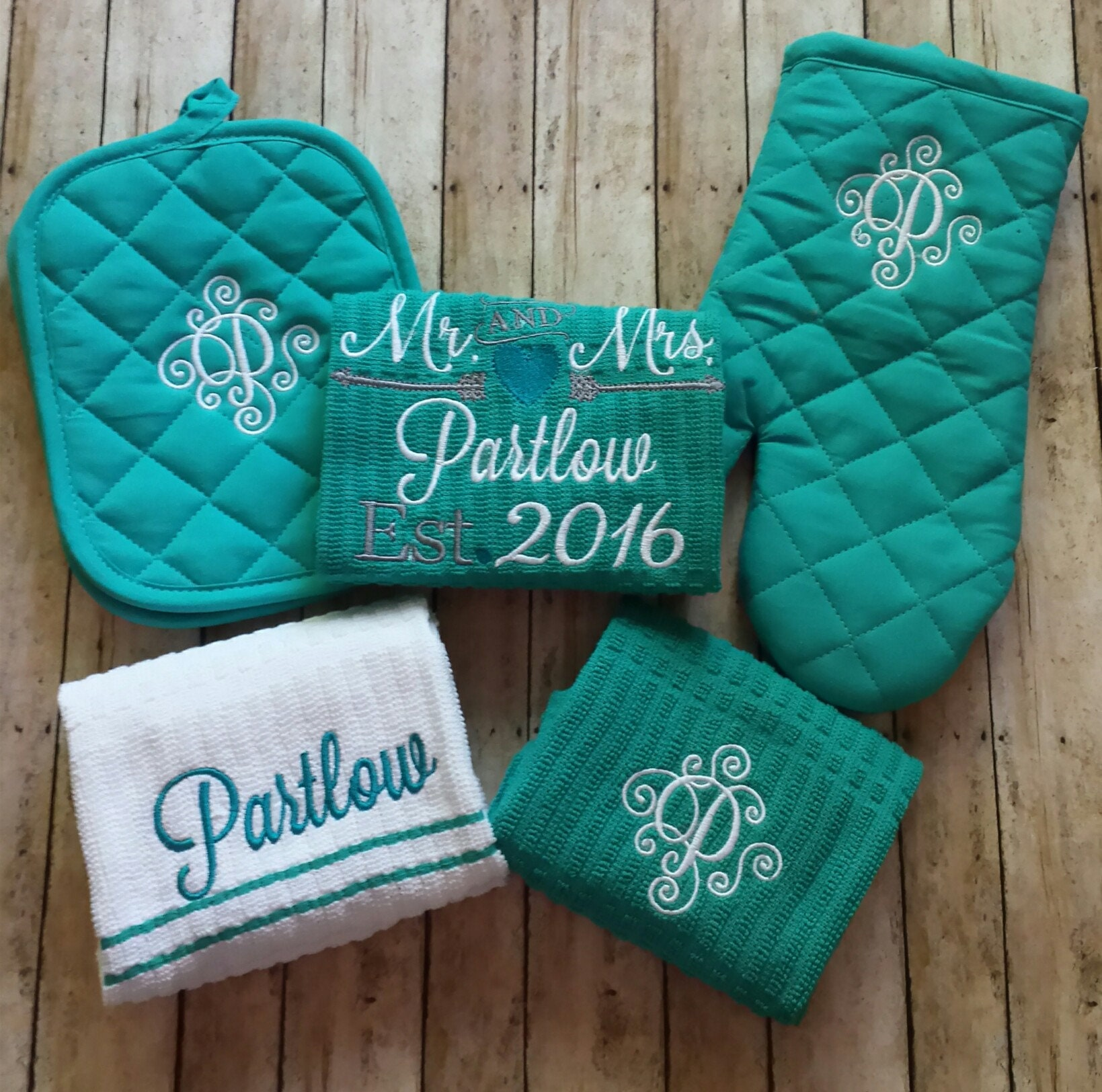 Wedding Monogrammed Kitchen Towel Set /Bridal Shower