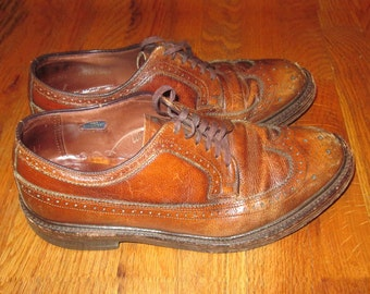 Vintage The Hanover Shoe Brown Distressed Wing Tip Laced Oxford Comfort Arch All Leather Shoe Combination Last Men Fashion Shoes Size 10 D/B VqnII