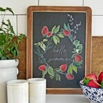 HELLO SUMMER strawberry & herb wreath Mini Vintage Slate sign {spring, summer, Home Decor}