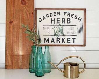 Garden Fresh Herb Market - Vintage Sign (Home Decor)