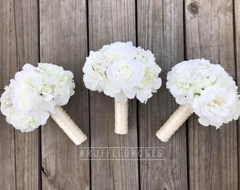 White bouquet etsy white bridesmaid bouquet cream bridesmaid bouquet ivory bouquet white bouquet mightylinksfo