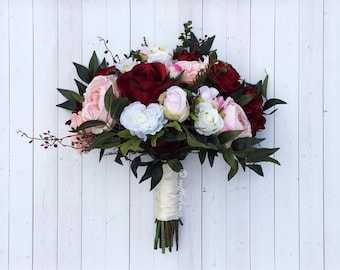 Boho bouquet etsy boho bouquet burgundy and blush bouquet wildflower bouquet bridal bouquet wedding bouquet silk bouquet mightylinksfo