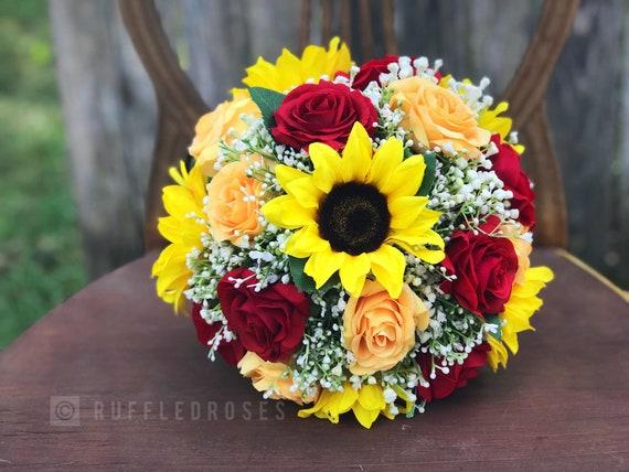 Sonnenblume Rose Bouquet Hochzeitsstrauss Schleierkraut Etsy