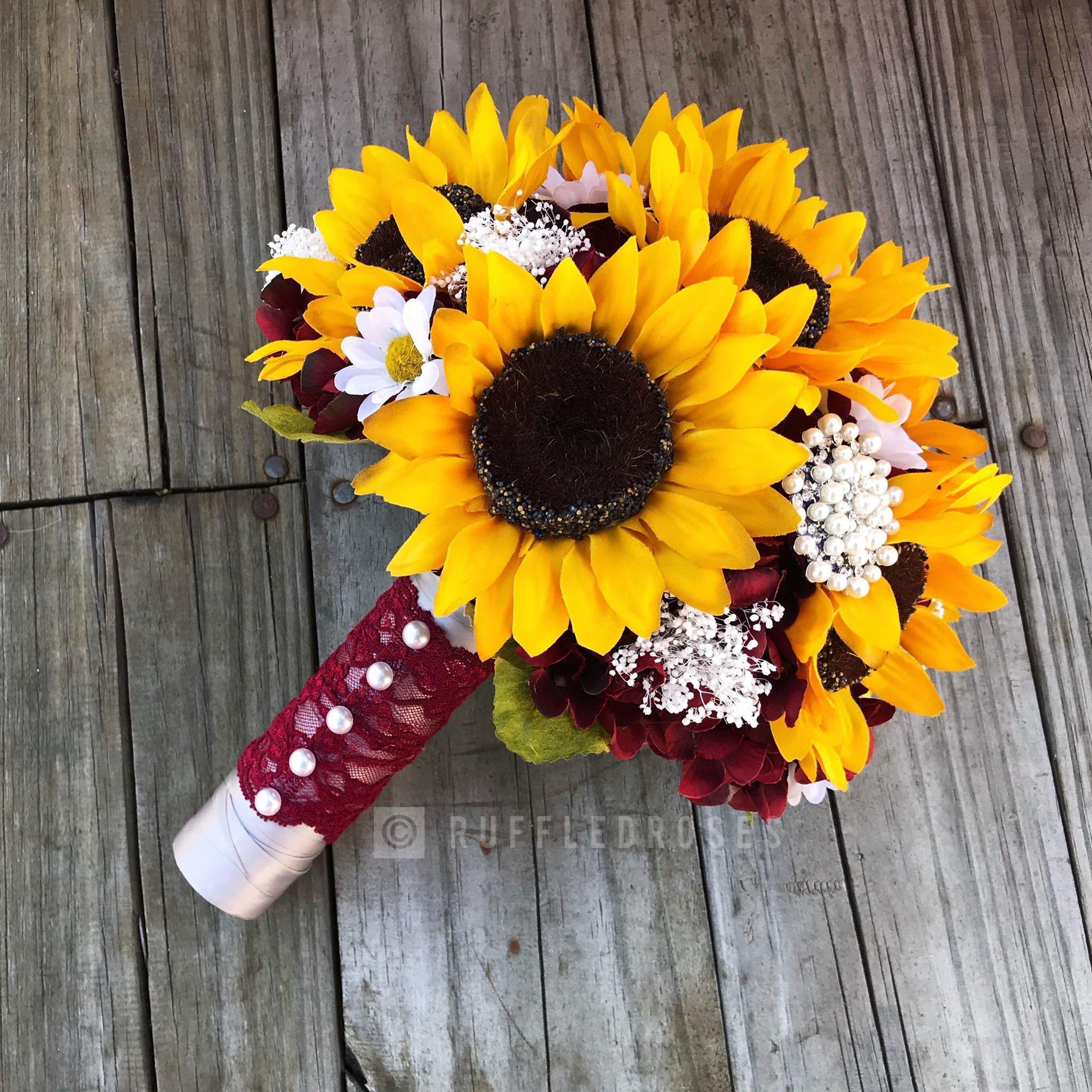 bordeaux vin bouquet tournesol tournesol et marguerite | etsy