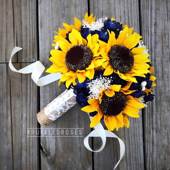 Navy Sunflower Bouquet Navy Blue Bouquet Sunflower Bouquet | Etsy