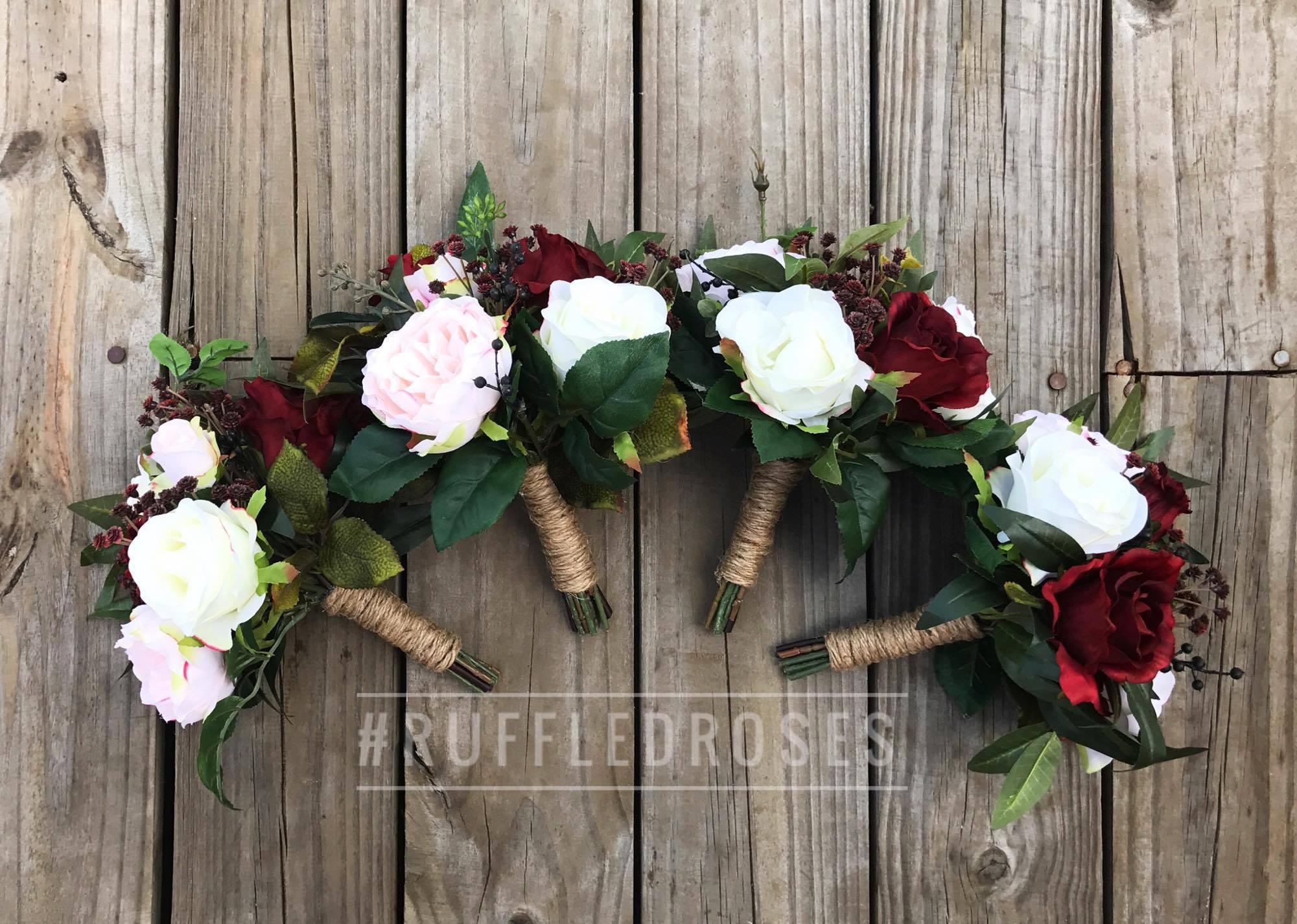 Bridesmaid Bouquet Burgundy Boho Bouquet Bridesmaid Bouquet Etsy