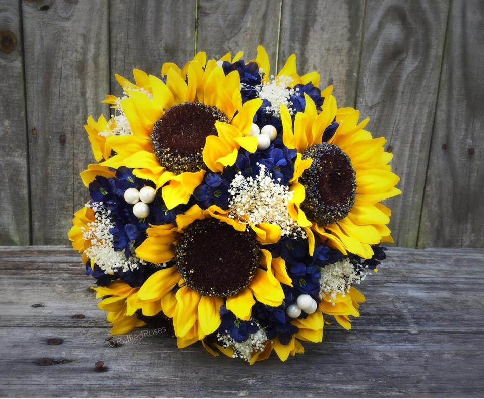 Sunflower bouquet navy sunflower bouquet bridal bouquet etsy zoom junglespirit Images
